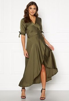 AX Paris Wrap Front Tie Dress Khaki Bubbleroom.eu