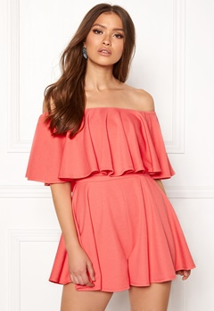 Goddiva Resort Bardot Frill Playsuit Coral Bubbleroom.eu
