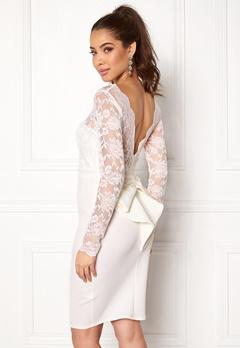 Goddiva Bardot Midi Dress Bow White Bubbleroom.eu