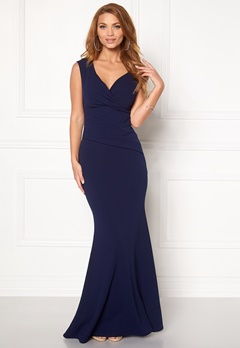 Goddiva Bardot Pleat Maxi Dress Navy Bubbleroom.eu