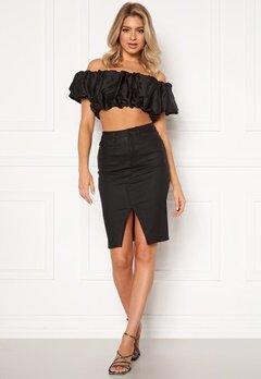 OBJECT Belle Supercoated Slit Skirt Black Bubbleroom.eu