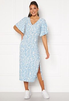 Blue Vanilla Angel Sleeve Midi Dress Pale Blue Bubbleroom.eu