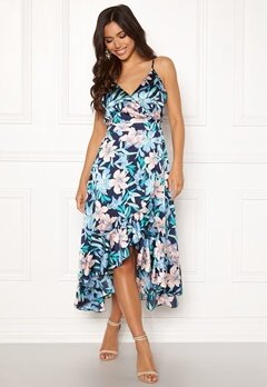 Blue Vanilla Floral Frilly Dress Blue Bubbleroom.eu