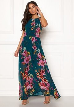 Blue Vanilla Floral Keyhole Maxi Dress Green Bubbleroom.eu