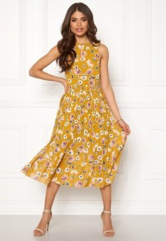Blue Vanilla Floral Pleated Midi Dress Mustard Bubbleroom.eu