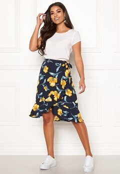 Blue Vanilla Floral Ruffle Wrap Skirt Navy Bubbleroom.eu