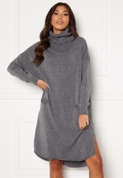 Blue Vanilla Knitted Roll Neck Dress Grey Bubbleroom.eu