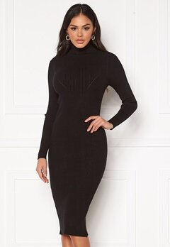Blue Vanilla Rib Knit Midi Dress Black Bubbleroom.eu