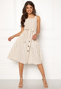 Blue Vanilla Stripe Tie Midi Dress Natural Bubbleroom.eu
