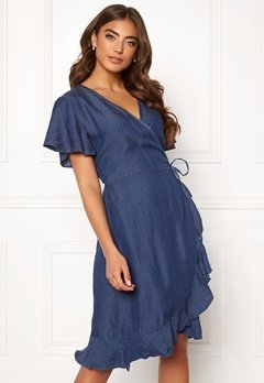 Blue Vanilla Wrap Frill Denim Dress Dark Denim Bubbleroom.eu