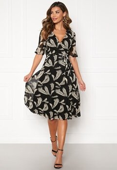 Blue Vanilla Wrap Midi Dress Black Bubbleroom.eu