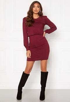 BUBBLEROOM Besa long sleeve short dress  Wine-red Bubbleroom.eu