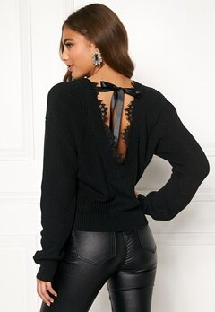 BUBBLEROOM Callie lace neck knitted sweater Black Bubbleroom.eu