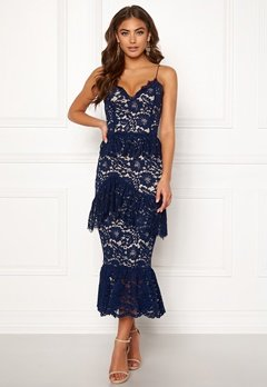 BUBBLEROOM Carolina Gynning flouncy lace dress Dark blue Bubbleroom.eu