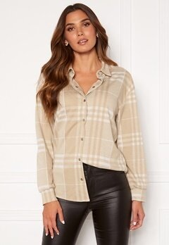 BUBBLEROOM Cleo checked overshirt  Beige Bubbleroom.eu