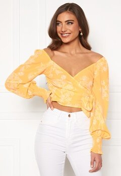 BUBBLEROOM Devin wrap top Yellow / White Bubbleroom.eu