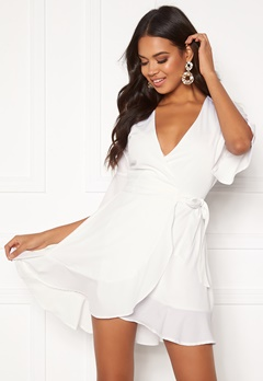 BUBBLEROOM Edie wrap dress White Bubbleroom.eu