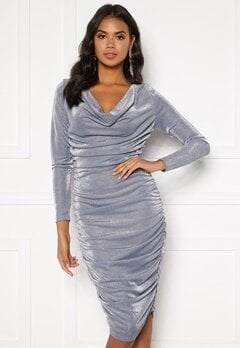 BUBBLEROOM Eleni sparkling waterfall dress Silver Bubbleroom.eu