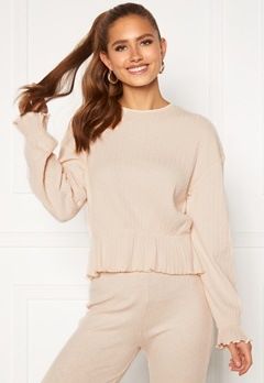 BUBBLEROOM Elleny ribbed flounce sweater Cream Bubbleroom.eu