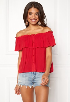 BUBBLEROOM Evelia off shoulder top Red Bubbleroom.eu