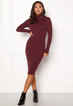 BUBBLEROOM Hilma knitted dress Wine-red Bubbleroom.eu