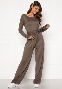 BUBBLEROOM Josie knitted jumpsuit Light brown Bubbleroom.eu