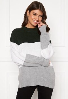 BUBBLEROOM Lindy block knitted sweater Light grey / Dark grey Bubbleroom.eu