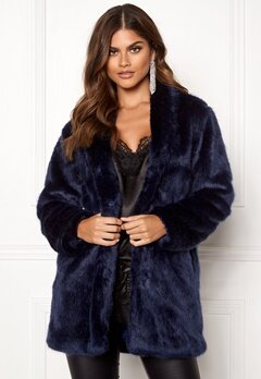 BUBBLEROOM Luxure faux fur coat Dark blue Bubbleroom.eu