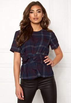 BUBBLEROOM Maddie tie blouse Navy / Checked Bubbleroom.eu