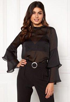 BUBBLEROOM Nadia flounce shirt Black Bubbleroom.eu
