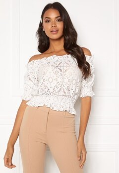 BUBBLEROOM Peaches off shoulder top White Bubbleroom.eu