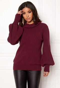 BUBBLEROOM Sally knitted sweater Wine-red Bubbleroom.eu