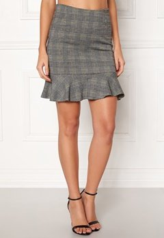 d7dbdbac9784 BUBBLEROOM Serena flounce skirt Grey / Yellow / Checked Bubbleroom.eu