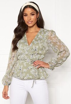 BUBBLEROOM Theia wrap top Dusty green / Floral Bubbleroom.eu