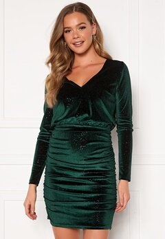 BUBBLEROOM Hillie sparkling velvet dress Green Bubbleroom.eu