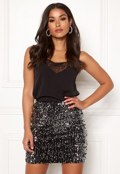BUBBLEROOM Nera sequin skirt Black / Silver Bubbleroom.eu