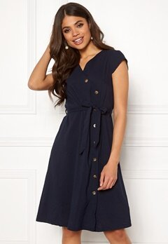 Blue Vanilla Button Through Midi Dress Navy Bubbleroom.eu