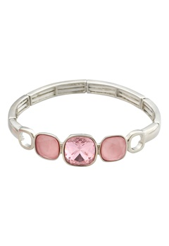 BY JOLIMA Glam Bangle Bracelet Light Rose Silver Bubbleroom.eu
