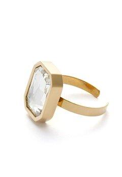 BY JOLIMA Sabina Square Ring Crystal Gold Bubbleroom.eu