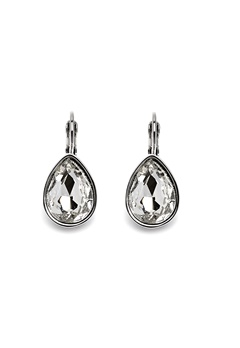 BY JOLIMA Tear Drop Earring Crystal Silver Bubbleroom.eu