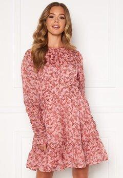 byTiMo Soft Organza Mini Dress 1104- Pink Flowers Bubbleroom.eu
