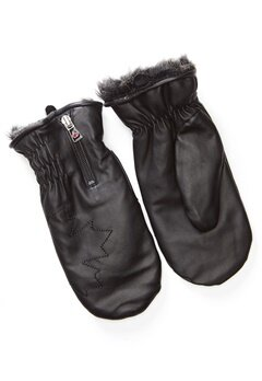 Canada Snow Kläppen Leather Mitts Black Bubbleroom.eu