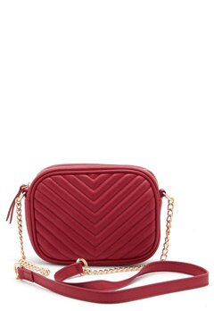 New Look Chevron Quilt Camera Bag Bright Red Bubbleroom.eu