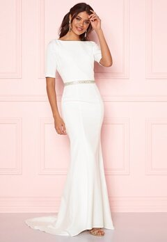 Chi Chi London Demi Diamonte Dress White Bubbleroom.eu