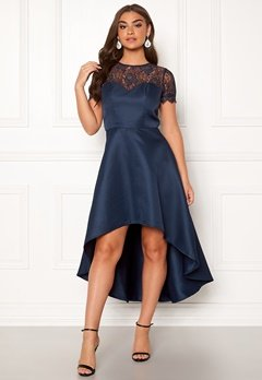 Chi Chi London Jayda High Low Dress Navy Bubbleroom.eu