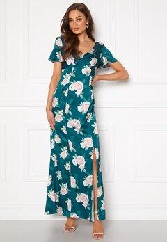 Chi Chi London Meadow Floral Maxi Dress Teal Bubbleroom.eu