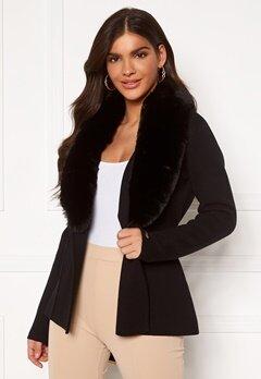 Chiara Forthi Arina heavy knit wrap jacket Black Bubbleroom.eu