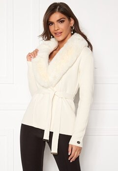 Chiara Forthi Arina heavy knit wrap jacket Winter white Bubbleroom.eu