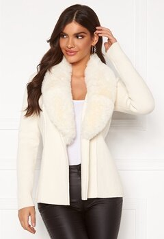 Chiara Forthi Arina heavy knit wrap jacket Winter white Bubbleroom.eu