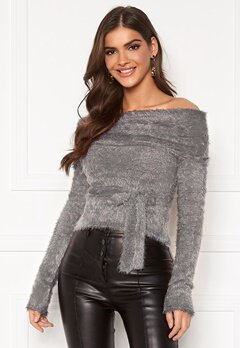Chiara Forthi Beatricia furry offshoulder sweater Silver grey Bubbleroom.eu